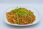 Nepalese style vegetable chowmein ( noodles )  made mild / medium and spice